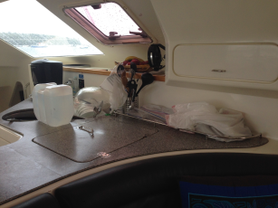 cluttered galley